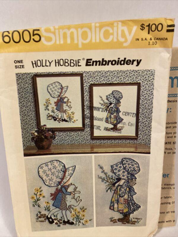Vintage Simplicity #6005 Holly Hobbie Embroidery 1973 Unused