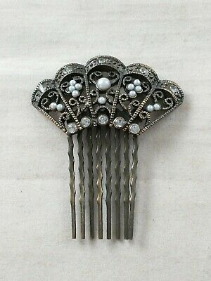Victorian Wigs, Hair Pieces  | Victorian Hair Jewelry  Vtg Hair Side Comb VICTORIAN STYLE Fan Faux Pearls Ornate *i $30.00 AT vintagedancer.com