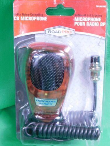 RoadPro TM-2007WG  CB Mic Wood Grain  4-Pin Noise Canceling