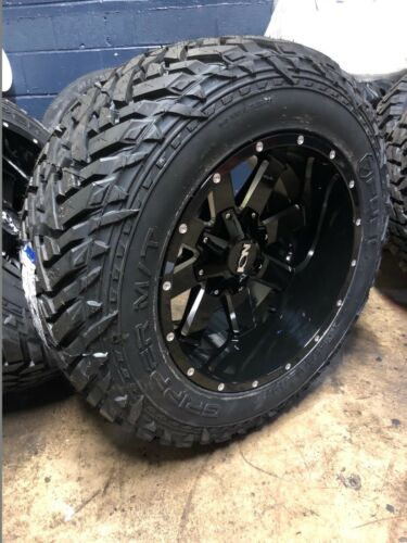 "20x12 Ion 141 Black 35"" Fuel Mt Wheel & Tire Package 5x5.5 Dodge Ram 1500"