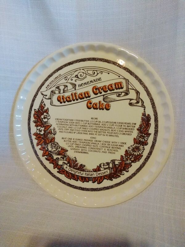 "Vintage Royal China 12"" Italian Cream Cake Recipe Serving Plate"