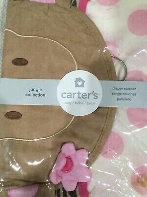 NEW-Carter's Diaper Stacker Jungle Collection Jill Monkey Polka Dots Pink-Girls