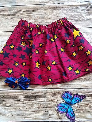 New African Kids Ankara Fabric Star Print Toddler Skirt/Elastic Waist/Headband