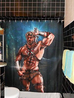 Licensed Jorden Arts He Man Shower Curtain Superhero  MOTU Gay Butch - Superhero Shower Curtain