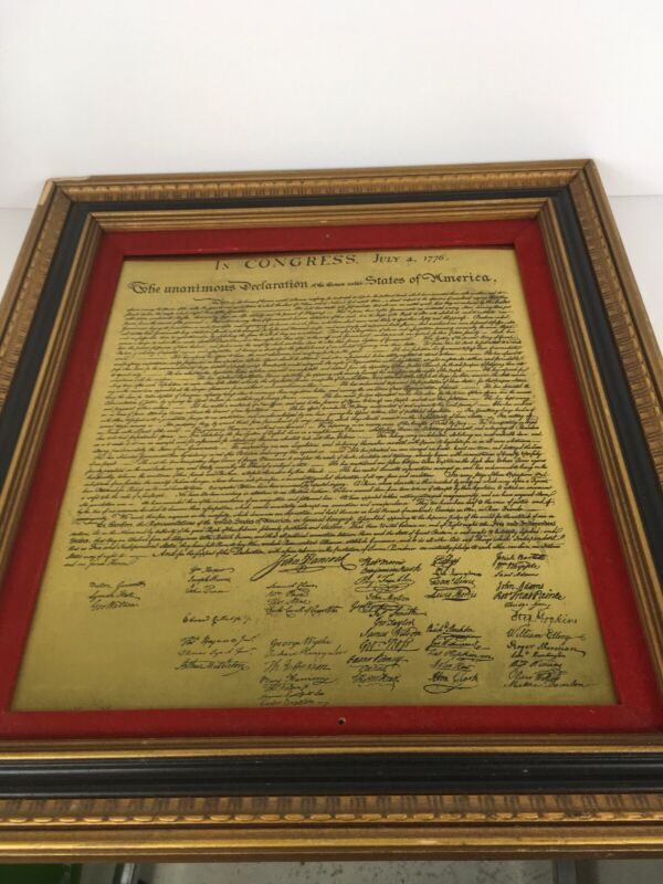 """July 4,1776 The unanimous declaration of the 13 United States of America 18""""X20"""""""