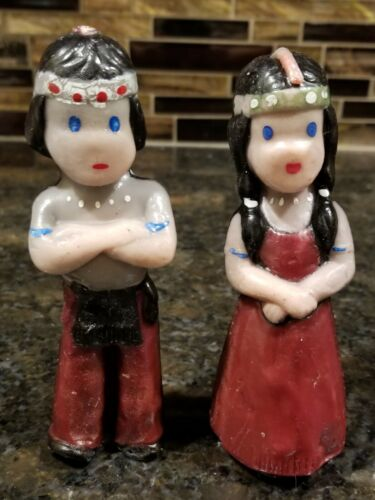 Vintage Gurley Indian Girl & Boy Candles Thanksgiving