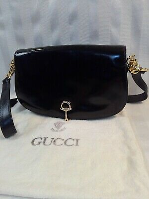 Vintage 1950s GUCCI Black Leather Shoulder Bag Horsebit Clasp NWOT Dust Bag