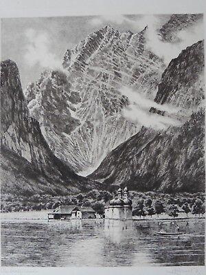 Radierung Eibsee am Fuße der Zugspitze von ALBRECHT BRUCK Original