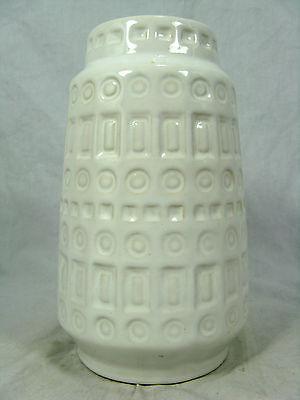 60´s west german design Scheurich Keramik vase 260-18 geometric pattern white
