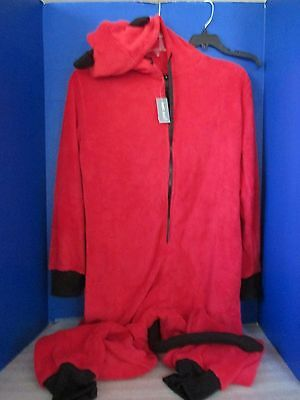 WET SEAL~Red Hooded DEVIL PAJAMA / HALLOWEEN COSTUME w/ TAIL~Women's Large~NWT - Wet Seal Halloween