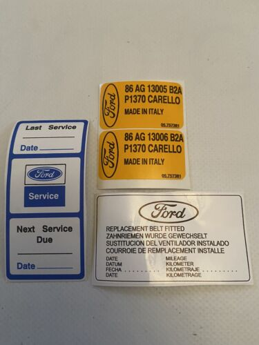 Car Parts - Ford Escort Mk4 / Orion Mk2 Carello Head Lamp Decal + Service +timing Belt Decal
