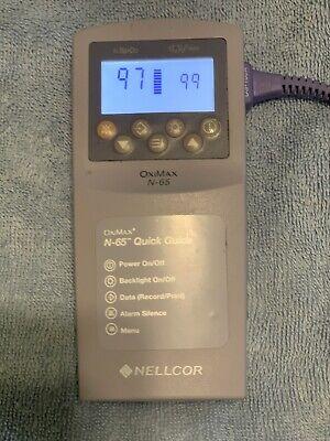 Nellcor N-65 Pulse Oximeter Spo2 Monitor With Finger Probe