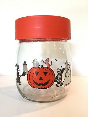 Halloween 3 1983 (Vtg Halloween Candy Jar Carlton Glass 3/4L JackO Lantern Ghost Cat Skeleton)