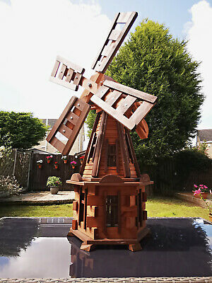 Pond / Garden / Patio, Large Handmade Wooden Windmill Garden Feature