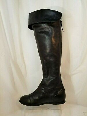 VIA SPIGA Georgia Over the Knee Black Pebbled Leather Back Zip Boots Size 5.5