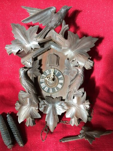 Large Antique U. S. Zone Cold War German Black Forest Carved Cuckoo Clock