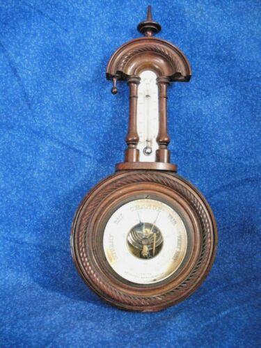 Arthurs Northampton Antique Barometer Carved Walnut Wood 1800s Original Hardware