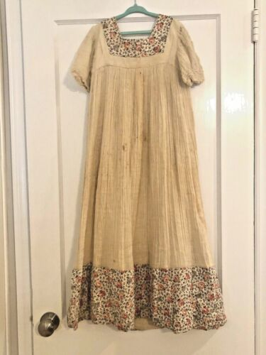 Vintage Childs Gown Muslin Gauze Full Length Antique 1920s