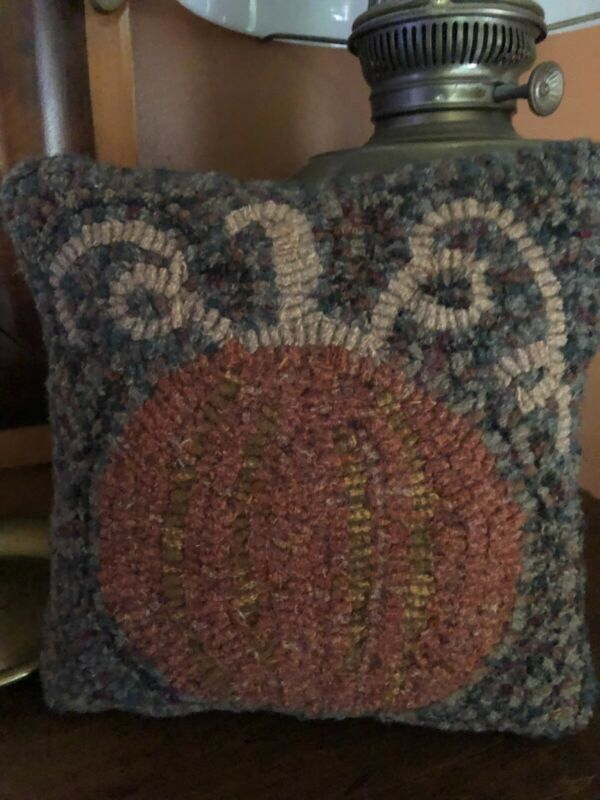 Primitive Hand Hooked Pillow for Fall Decor
