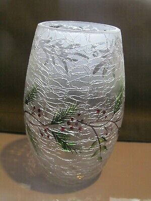Yankee Candle FROSTED PINE CRACKLE HURRICANE VOTIVE Tea Light Candle Holder RARE