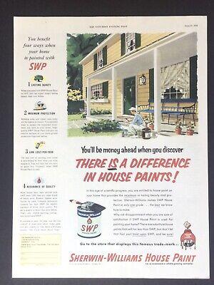 SHERWIN-WILLIAMS 236 Paint House Illustration Image art 1953 Vintage Print Ad