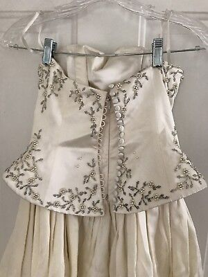 PALOMA COUTURE Sz 4/6 Small Strapless Ivory SILK Bridal Gown Wedding Dress New