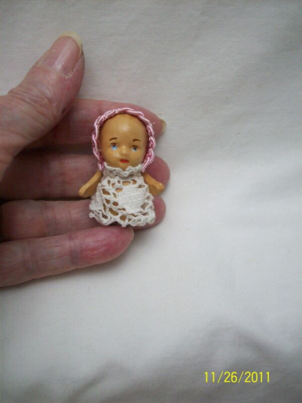 Hand Carved Tiny Baby Doll by Hitty Artist
