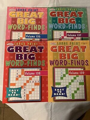 4 New LARGE PRINT Word-Finds Puzzle Books Vol #136, #137, #138, #139  Kappa