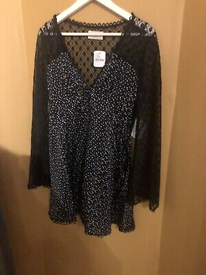Urban Outfitters Kiss the Sky Black Lace and Polka Dot Dress Little Black Dress