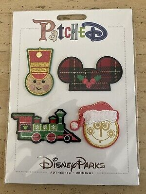 Disney Parks Patched Christmas Train Soldier Small World Ears Patch Set NEW