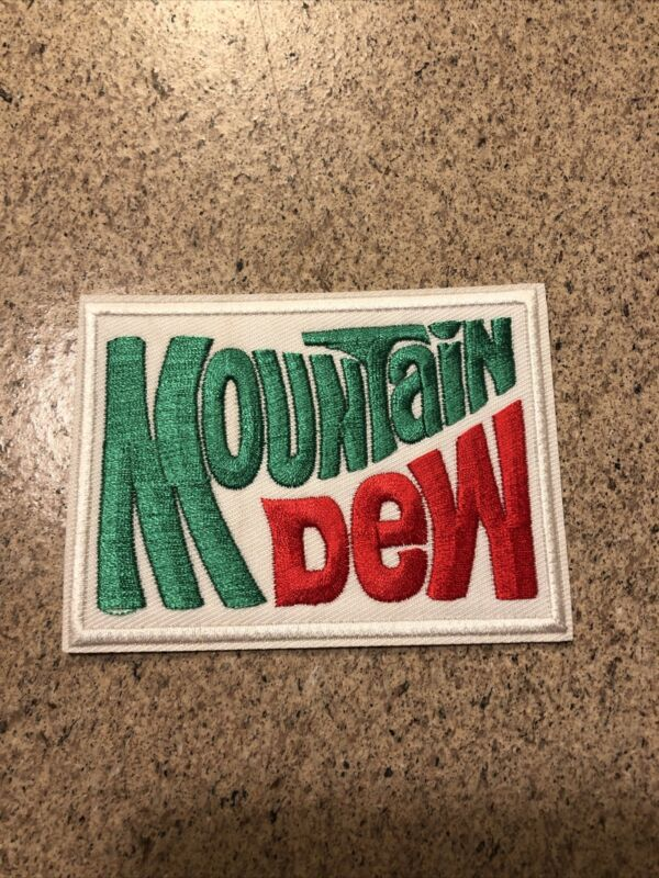 """MOUNTAIN DEW"""" EMBROIDERED IRON ON PATCHES 2-3/4 X 3-3/4"""