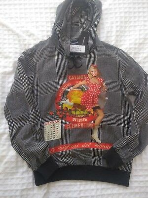 NEW, Dolce Gabbana hooded sweatshirt unisex, grey, 100 %silk, M, made in Italy