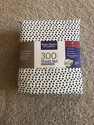 Better Homes & Gardens Full Sheet Set Aztec Diamond Black Dot 100% Cotton