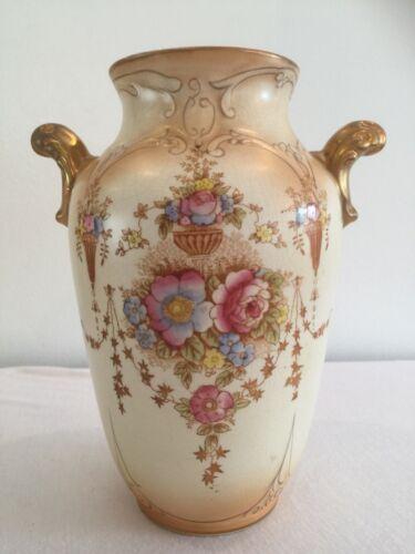 """Crown Devon Fieldings """"Spring"""" Porcelain Blushware Urn Vase Floral Gilded"""