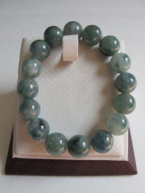 100% Natural type A jadeite jade beads stretch bracelet J00010