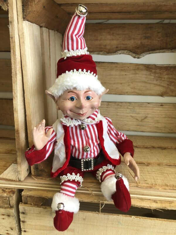 "Elf Raz Imports Elf Poseable Shelf Sitter Red White Stripe Fat Santa Elf 16"" New"