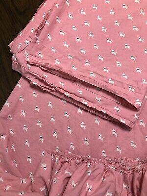 Set Flat & Fitted Tommy Hilfiger SCOTTY DOGS Pink TWIN Sheets PARK -