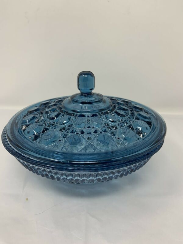 Vintage Windsor Covered Candy Nut Dish Blue Indiana Glass Button & Cane Pattern