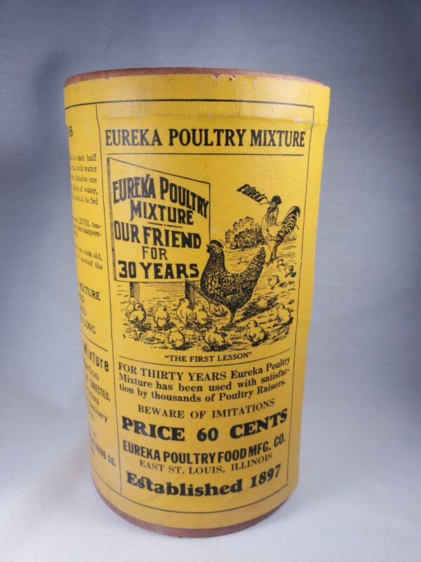Vintage LARGE EUREKA POULTRY MIXTURE pre-1950 Sealed FULL Perfect for Props Deco