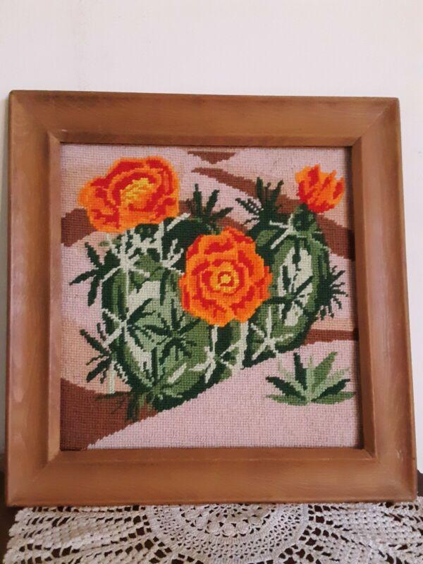 Vintage Needlepoint Pct. - Cactus W/ Orange Flowers- Handmade Framed- Square-...