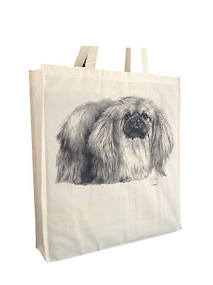 Pekingese Cotton Shopping Bag with Gusset & Long Handles Perfect Gift