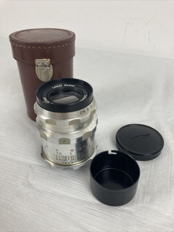 LEIDOLF WETZLAR 1.4 / 90mm LENS FOR RANGEFINDER LORDOMAT CAMERAS & leather CASE