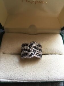 Sterling Silver Black & White Sapphire Ring