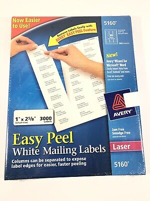 Avery 5160 Easy Peel White Address Labels 1 X 2-58 3000 Labels