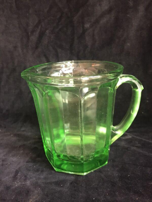 HAZEL ATLAS Creamer Pitcher Green Vaseline Uranium Depression Glass USA 1930