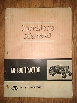 Vintage Massey-ferguson Operators Manual Mf 180 Tractors