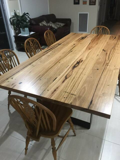 Recycled Hardwood Messmate Dining Table Black Metal Loop Legs