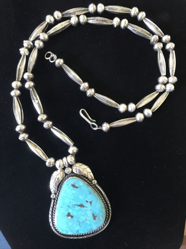 Vintage Silver Bench Beads Large Navajo Blue Turquoise Pendant Necklace