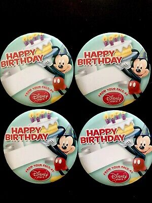 4 Mickey Mouse Birthday Buttons Disney Store Pin Customizable Blank - NEW! (Blank Button Pins)