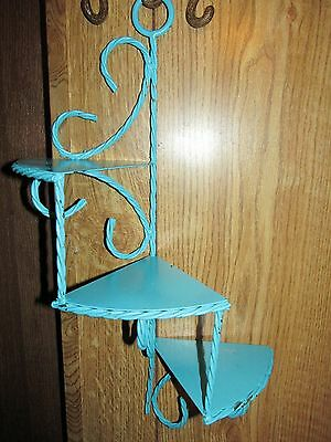 Vtg Twisted Rope Metal Spiral Shelf w/3 Triangular Shelves~Home Int. ~ Turquoise